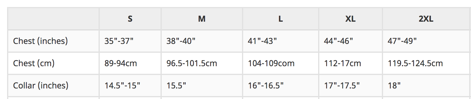 Adult T-Shirt Sizes
